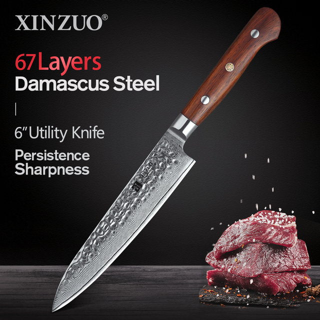 XINZUO 6 inch Utility Knife Damascus Steel Kitchen Knife Vegetable Knives Stainlesss Steel Salad Peeling Knives Rosewood Handle
