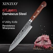 XINZUO 6 дюймовый нож, дамасская сталь, кухонный нож, овощные ножи, нержавеющая сталь, салатные пилинг, ножи, ручка из розового дерева