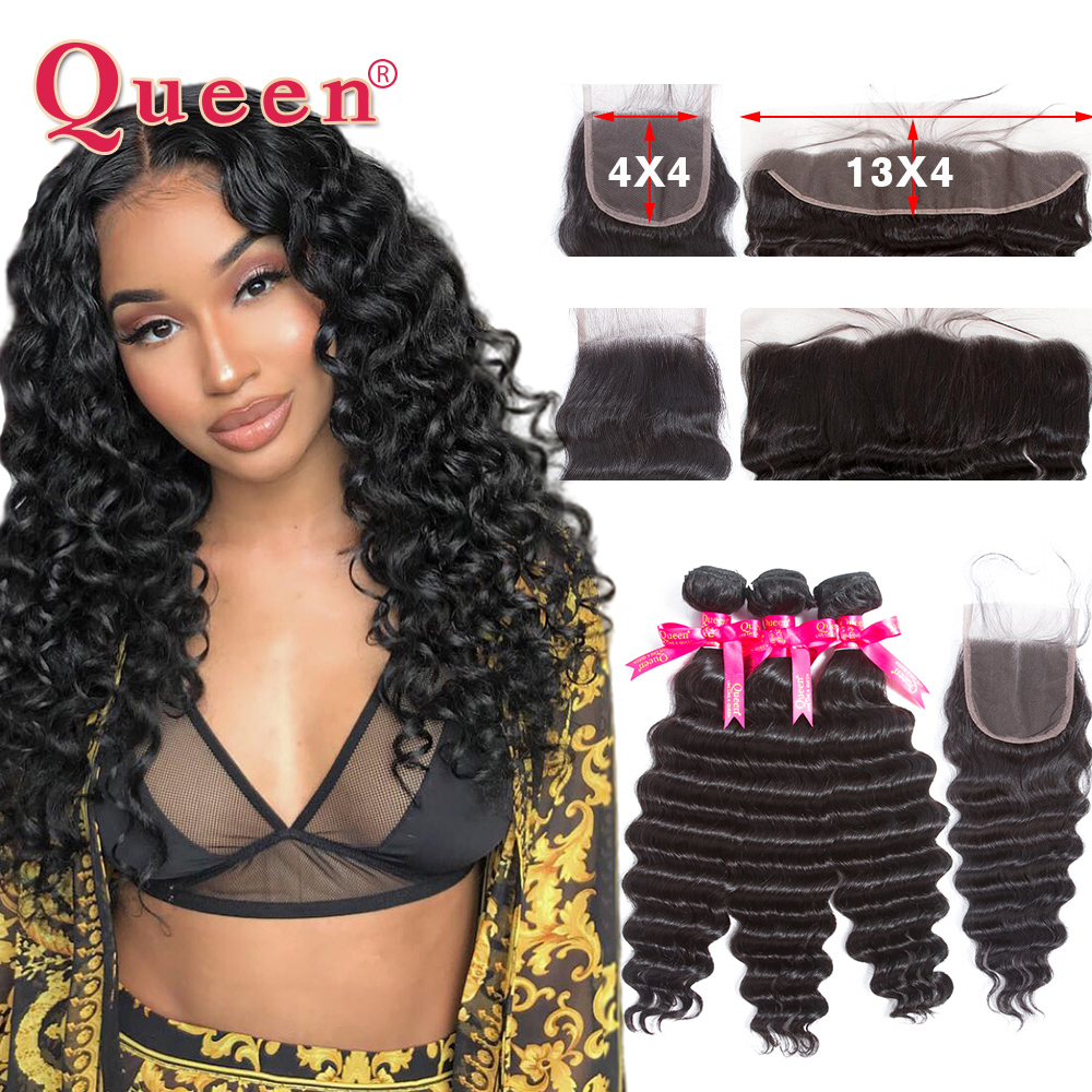 Queen Hair Products Loose Deep Wave Brazilian Hair Weave Bundles With Closure Brazilian Remy Human Hair Bundles With Frontal
