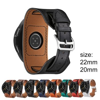 22mm Genuine Leather watch Band For Samsung Galaxy Watch 46mm 42 strap Gear S3 Cuff Bracelet Replacement amazfit bip strap 2/3