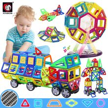 Big Size zestaw Magnetic Designer Construction Model i zabawki do budowania magnesów bloki magnetyczne zabawki edukacyjne dla dzieci