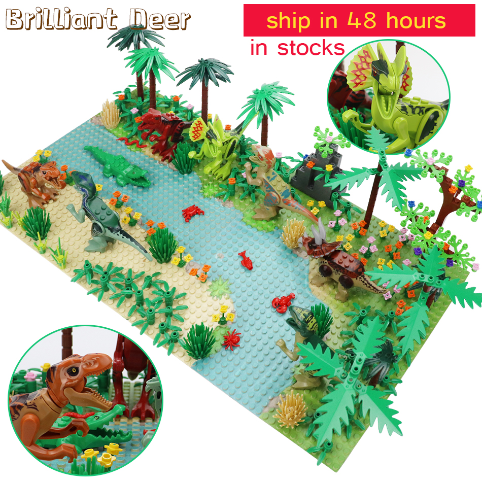 New Jurassic Dinosaur World Tree Forest Animal Action Figures Building Blocks Compatible City DIY MOC Bricks Kids Toys