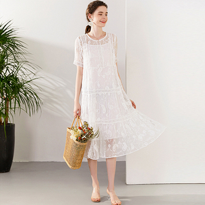 100% Silk Dresses Women Elegant High Quality Solid White Printed O-Neck Short Sleeve Embroidery 100 Natural Silk Dress Summer