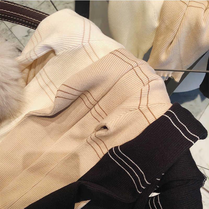 Mishow 스웨터 2020 니트 Bottoming 긴 소매 단색 pullovers 여성 스트라이프 점퍼 Autum 겨울 니트 탑스 MX18D5136