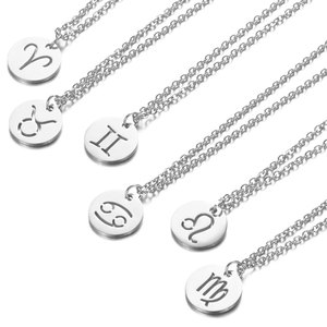 Stainless Steel 12 Constellation Pendant Necklace Round Coin Hollow Zodiac Sign Statement Clavicle Chain Necklace Unisex Jewelry
