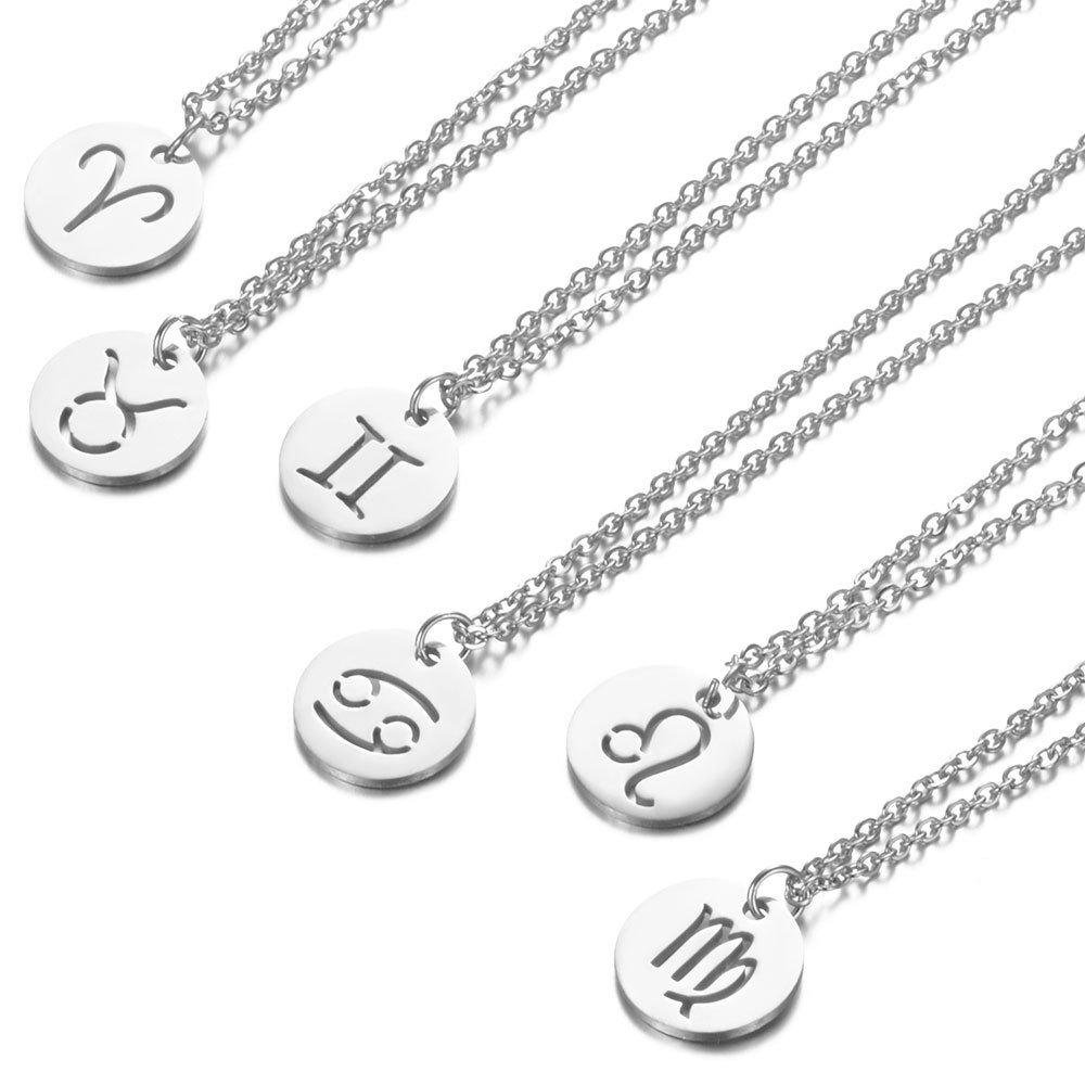 Stainless Steel <font><b>12</b></font> <font><b>Constellation</b></font> <font><b>Pendant</b></font> <font><b>Necklace</b></font> Round Coin Hollow <font><b>Zodiac</b></font> <font><b>Sign</b></font> Statement Clavicle Chain <font><b>Necklace</b></font> Unisex Jewelry image