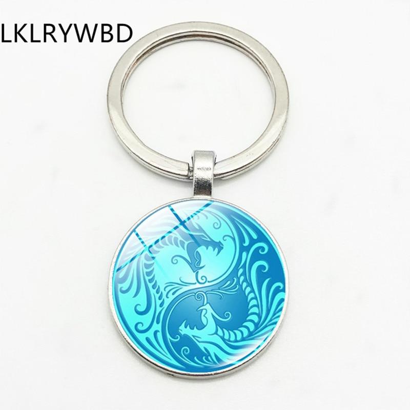 LKLRYWBD/يين يانغ تاي تشي القيل والقال التنين الصيني موضة المفاتيح حلقة رئيسية دلاية مجوهرات محدب الزجاج المفاتيح