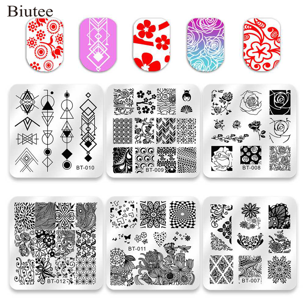 Biutee 6pcs Placas Nail Art Stamping Nail Polish Stamper Ferramentas Raspador de Impressão Presente VU Gel Nail Art template Manicure conjunto Kit
