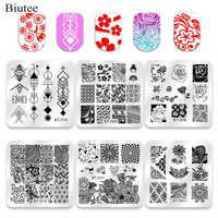 Biutee 6pcs Nail Art Stamping Plates Nail Polish Stamper Gift Scraper Tools Printing VU Gel Nail Art template Manicure Set Kit