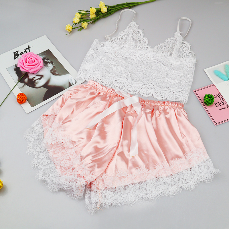 Floral Lace Cami Top With Satin Shorts Lingerie Set Women 2019 Summer Sexy Sets Ladies Bra And Panty Underwear Set Lenceria
