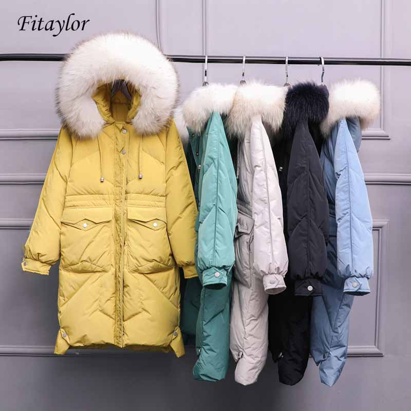 Fitaylor Large Natural Raccoon Fur Hooded Jacket Winter Women White Duck Down Long Parkas Loose Pockets Female Thick Warm Coat