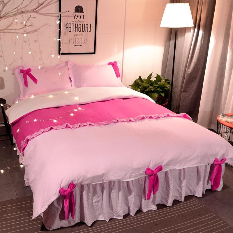 1.5/1.8/2.0m Home Bedroom Bedding Set Duvet Cover Pillow Cases Sheet Four Pieces Set Sweet Princess Style 6