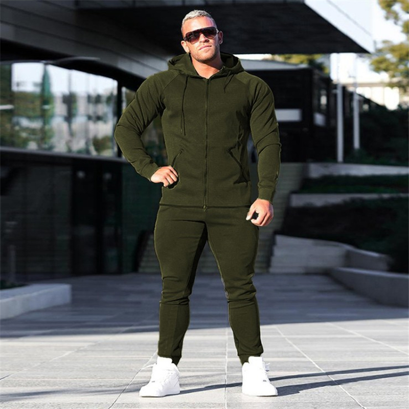 YEMEKE Men's Sets Two-piece Sportswear Running Suit Men's Gyms Hoodies+trousers Men Sports Suits Bodybuilding Hoodie Men Suits