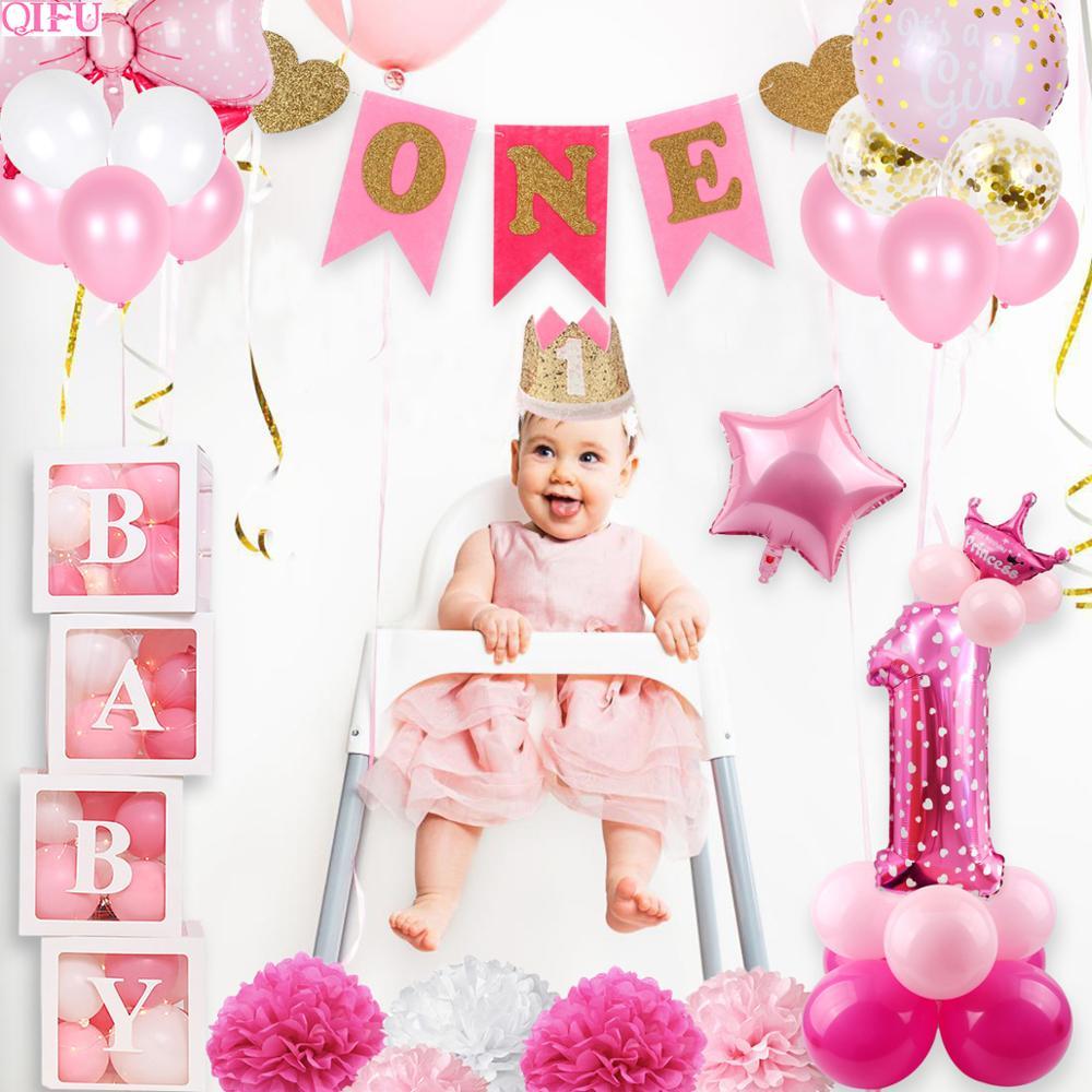 Decoração do chuveiro do bebê menino 1st aniversário menina 1 primeiro aniversário decoração da festa de aniversário crianças rosa balões de aniversário decoração um ano babyshower