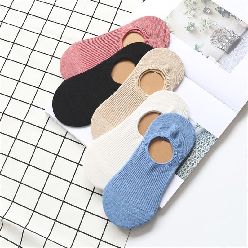Женские силиконовые Нескользящие невидимые носки, однотонные сетчатые носки до щиколотки, женские модные хлопковые дышащие мягкие тапочки...