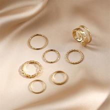 7 шт модные кольца в стиле панк набор геометрических минималистических
