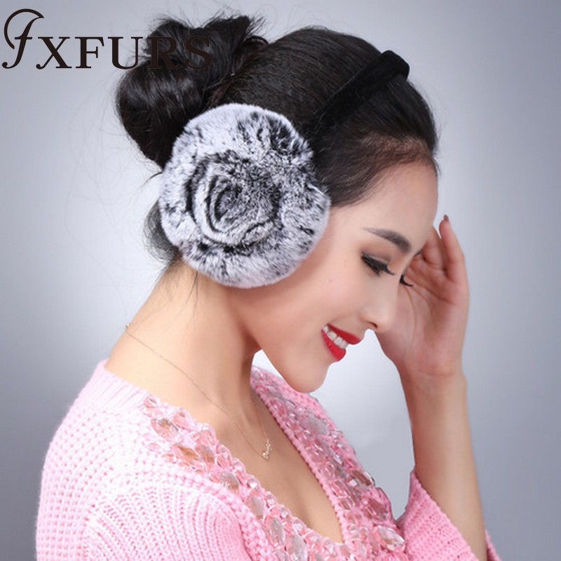 FXFURS Winter Earmuffs Real Rabbit Fur Warm Earmuffs Lovely Rose Earlap Russian Female Genuine Fur Plush Ear Muff Natural Fur