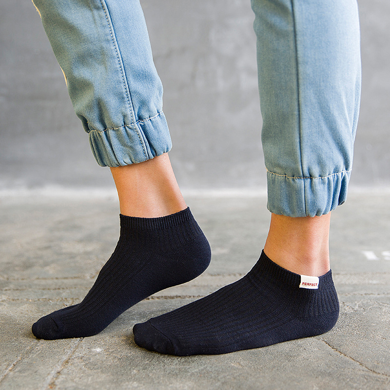 Fashion Summer Thin Cotton Men Socks Color Breathable Men'S Invisible Boat Socks Sweat-Absorbent Japanese College Socks