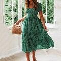 Vintage Print Puff Sleeve Kleid Frauen Sommer 2020 Neue Süße Casual Platz Kragen Grün Floral Print Lange Kleider Schlank Vestidos