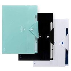 Rozkładana teczka  5 kieszonkowy akordeon Organizer na dokumenty A4 rozmiar listu do szkolnego użytku biurowego (3 paczki czarny/biały/lekki