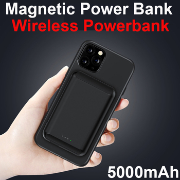 Qi Magnetic Wireless Charger Power Bank 5000mAh For iPhone 12 Pro Max Mini Poverbank Portable External Battery Charger Powerbank image
