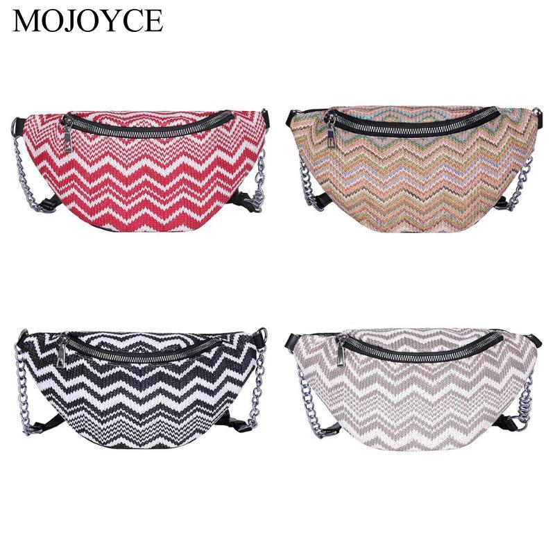 Stripe Waist Fanny Pack Women Weave Summer Beach Shoulder Bag Phone Pouch