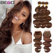 Коричневый волнистые пряди с закрытием бразильских волос #4 цвета 100% человеческие волосы пряди с закрытием Волосы Remy для черный Для женщин ...