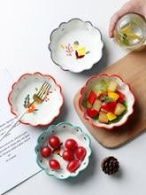 1 pçs criatividade cerâmica utensílios de mesa bonito sobremesa tigela salada de frutas recipiente tempero prato lanche do agregado familiar frutas secas bolo placa