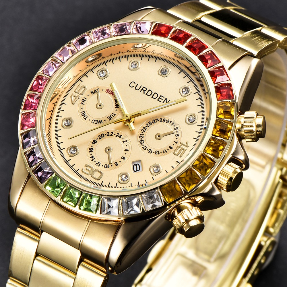 Best Selling Stainless Steel Luxury  Star Diamond Inlaid Rhinestone Men Fashion Colorful Analog Sport Quartz WristWatch Gift  #D