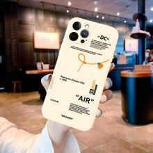 Para o iphone 12 11 pro max mini 6s 7 8 plus x xr xs max se 2020 capa de luxo esporte marca logotipo etiqueta bege macio silicone caso