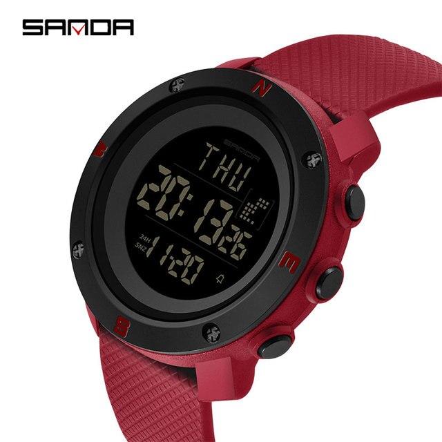 2019 三田新 30 メートル防水レディース腕時計多機能スポーツの女性はデジタル LED 表示の女性の腕時計