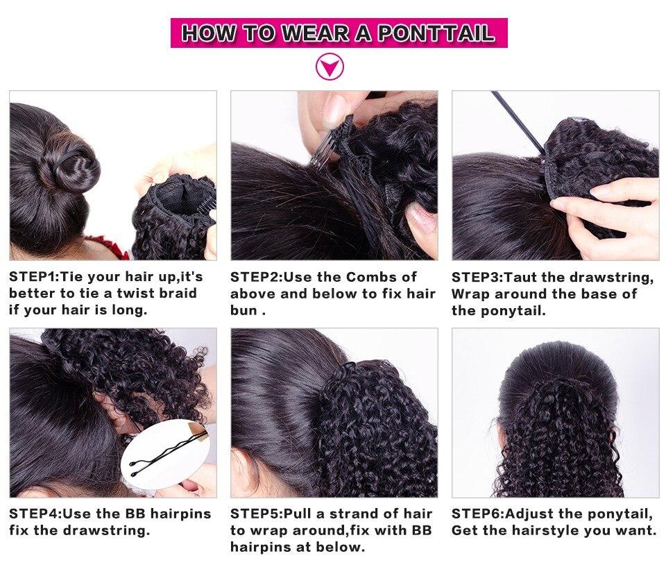 8 polegada curto afro puff cabelo sintético