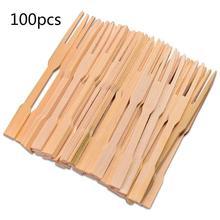 100 шт мини Одноразовые Бамбуковые вилки десерт фрукты вилки для закуски Вечерние