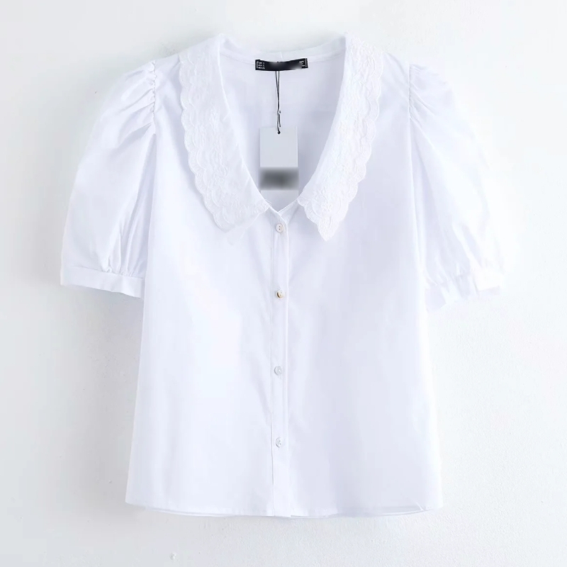 2020 New Women Fashion Embroidery Collar Chic White Blouse Shirts Women Pleats Short Sleeve Femininas Chemise Blusas Tops LS6456