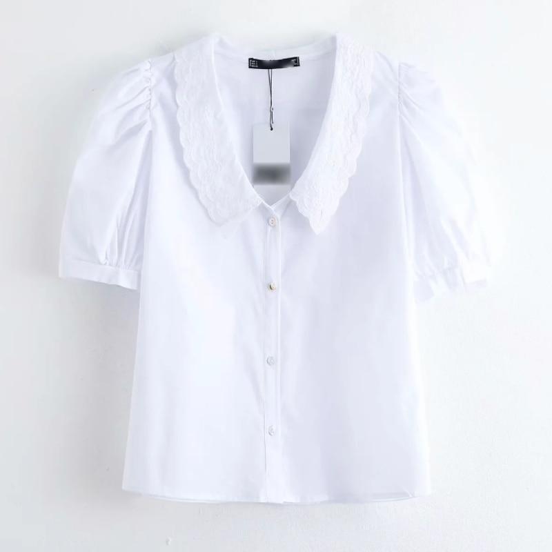 2020 New Women Fashion Embroidery Collar Chic White Blouse Shirts Women Pleats Short Sleeve Femininas Chemise Blusas Tops LS6456