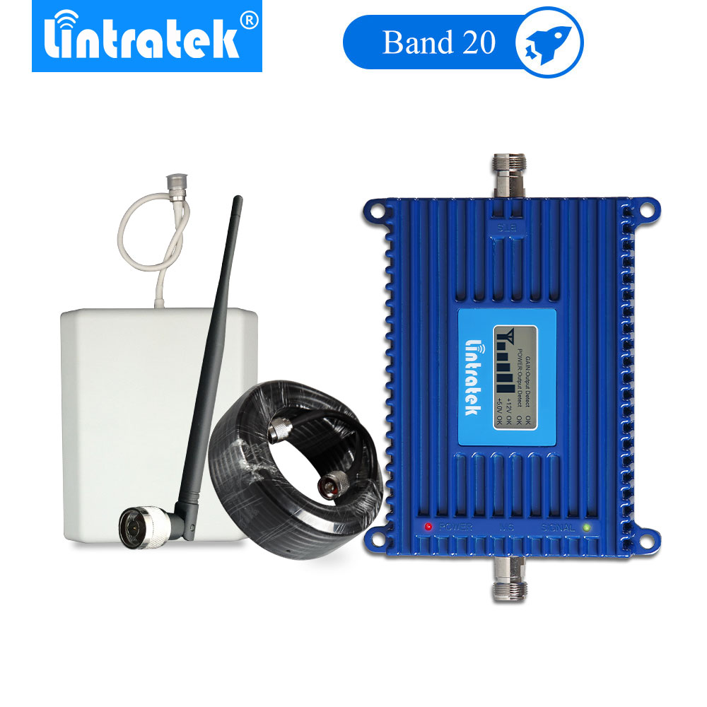 Lintratek 4G Signal Booster B20 LTE 800mhz Mobile Phone Signal 4g Amplifier 70dB LCD Amplificador Señal 4g Antenna Set -