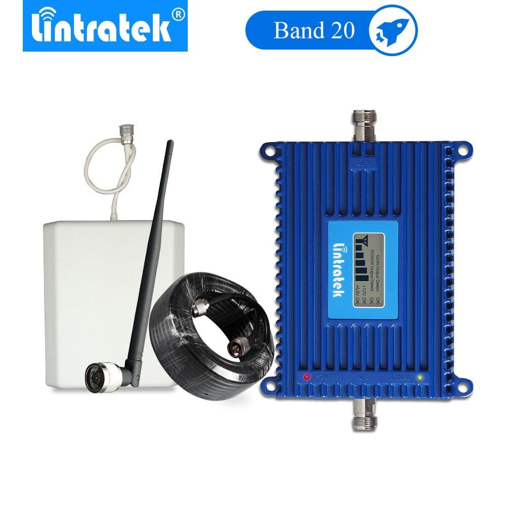 Lintratek 4G Signal Booster B20 LTE 800mhz Mobile Phone Signal 4g Amplifier 70dB LCD Amplificador Señal 4g Antenna Set -