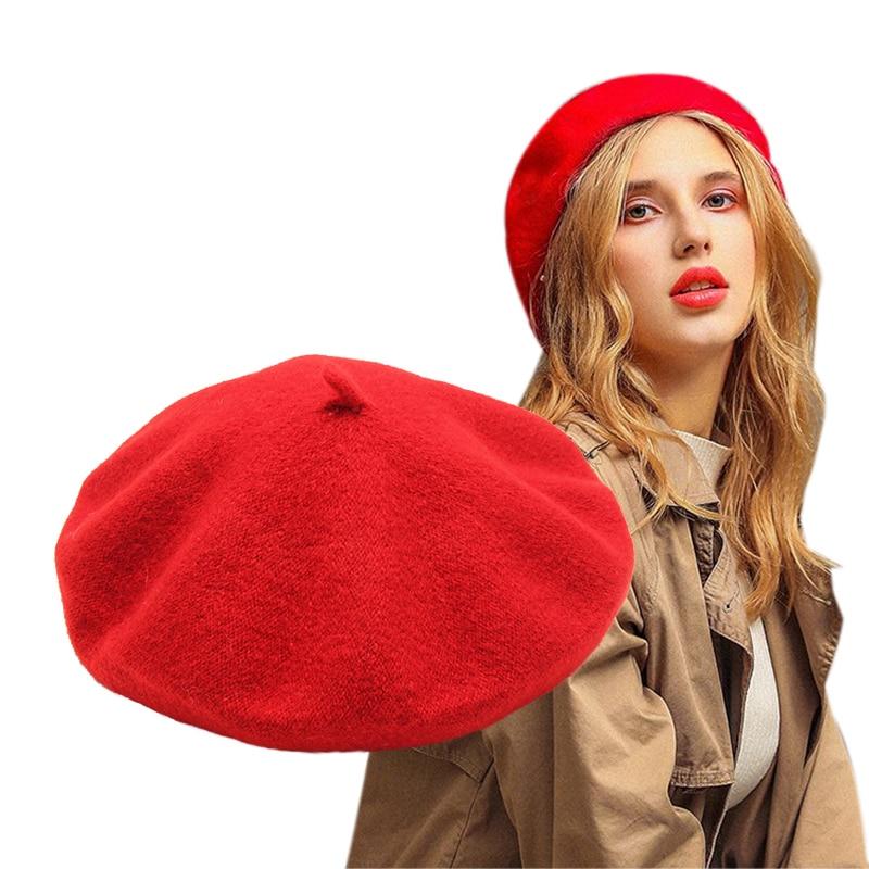 Female French Beret Hat Winter Hats for Women Wool Beret Cap Red Girls Hat Womens Autumn Winter Hat Beret Bonnet Caps WH021