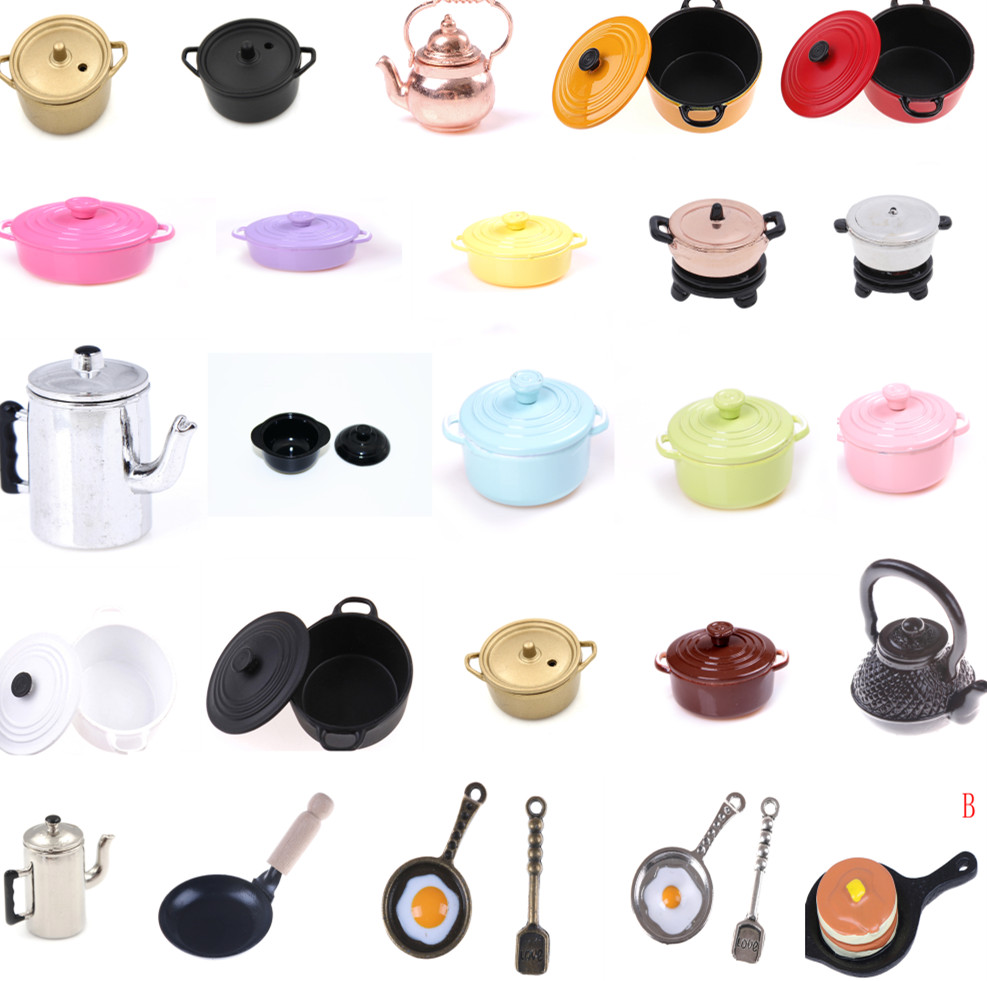Hot Dollhouse Miniature Kitchen Utensil Cooking Ware Play Kitchen Toy Mini Pot Boiler Pan With Lid Kettle Doll House Accessories