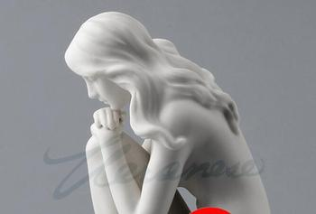 Creative Decoration Ceramic Glaze Art Female Sit with Knees Around One Feet Statue Privileges Figure sculpture