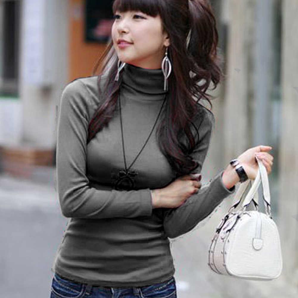 סתיו חורף אופנה נשים מוצק גולף חלב משי סוודרי השפל T חולצה אופנתי ארוך שרוול Slim Fit יסוד טי חולצות