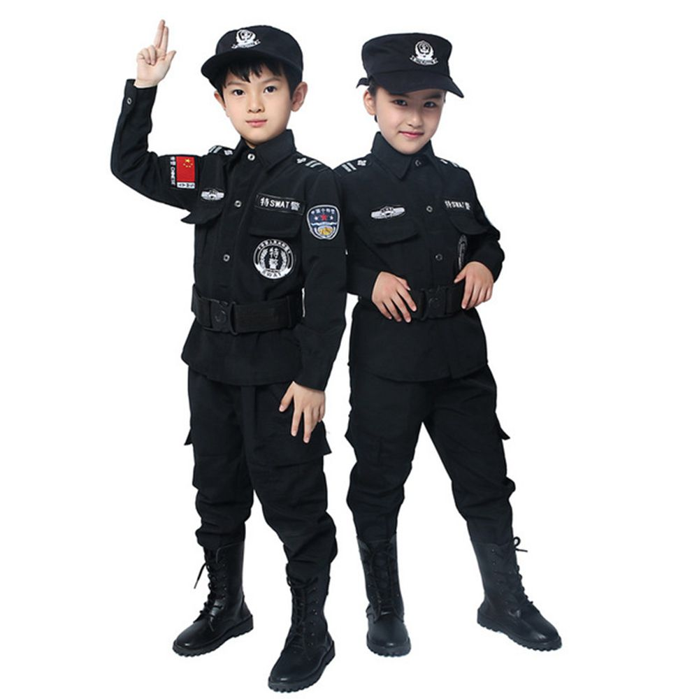 Policemen Costumes Children Cosplay For Kids Army Police Uniform Clothing Set Long Sleeve Fighting Performance Uniforms TJM3002