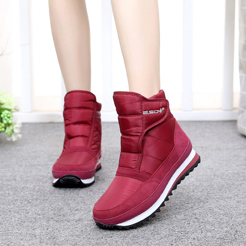 Image 3 - Women snow boots 2019 fashion solid non slip waterproof winter boots women boots plush warm women shoes hook&loop ankle boots-in Ankle Boots from Shoes