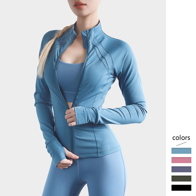 $ US $18.41 Women Sports Jacket High Collar with Zipper Slim Long Sleeve Sportswear with Thumb Hole for Mujer Running Fitness Casual