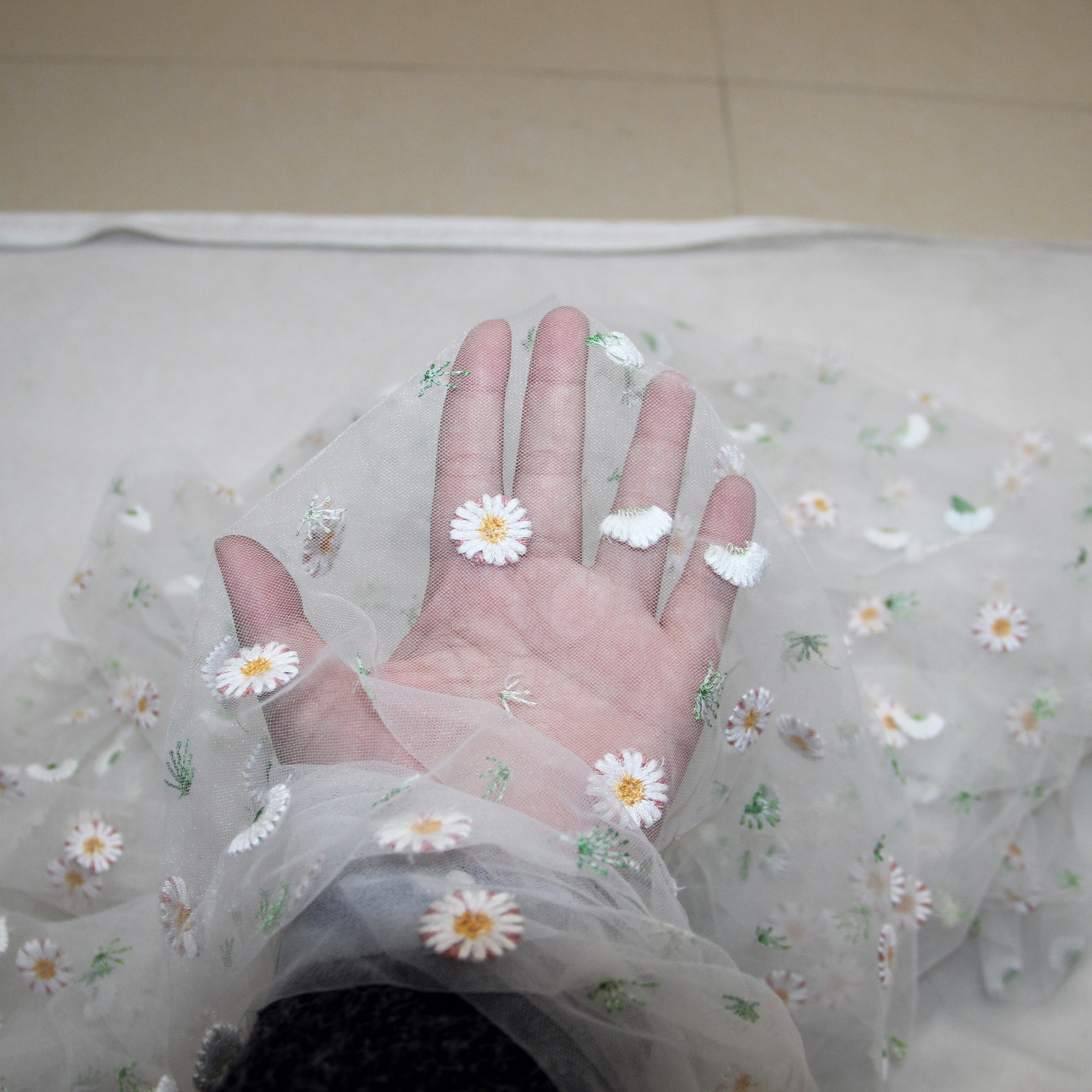 3meters Nylon Little Daisy Embroidered Soft Mesh Tulle Fabric Accessory For DIY Wedding Tutu Dress