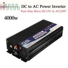 Double affichage 4000W onduleur à onde sinusoïdale Pure 12V DC vers 220V AC, convertisseur dalimentation domestique, convertisseur dalimentation, adaptateur