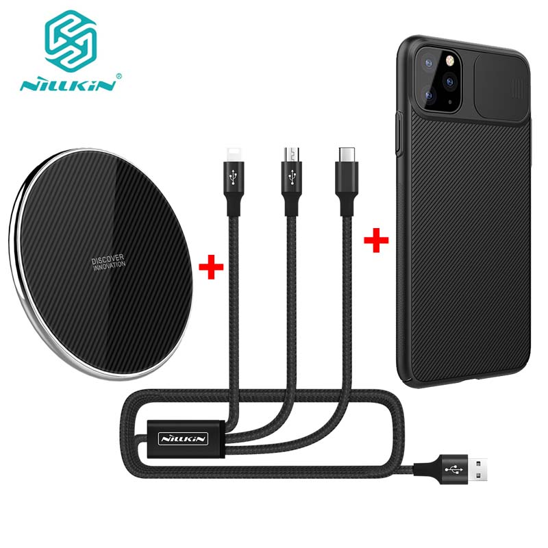 NILLKIN 10w Fast wireless charger support PC/QC input +1.5m 3A 3 in 1 charging cable +black case for iPhone 11/11 Pro/11 Pro Max