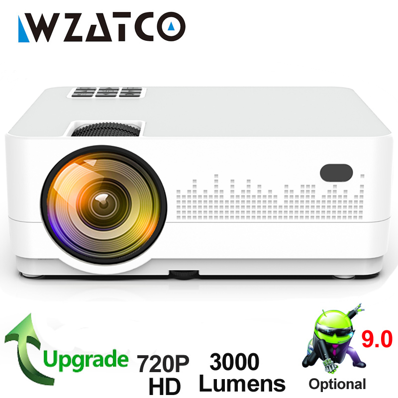 WZATCO HD 720P 150 polegada Mini Portáteis 3D LCD LED 4k Home Theater Projector Android 9.0 WIFI Opcional jogo Filme Cinema Proyector