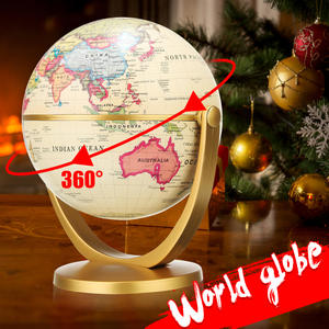 12cm Retro Globe 360 Rotating Earth World Ocean Map Ball Antique Desktop Geography Learning Education Home School Decoration