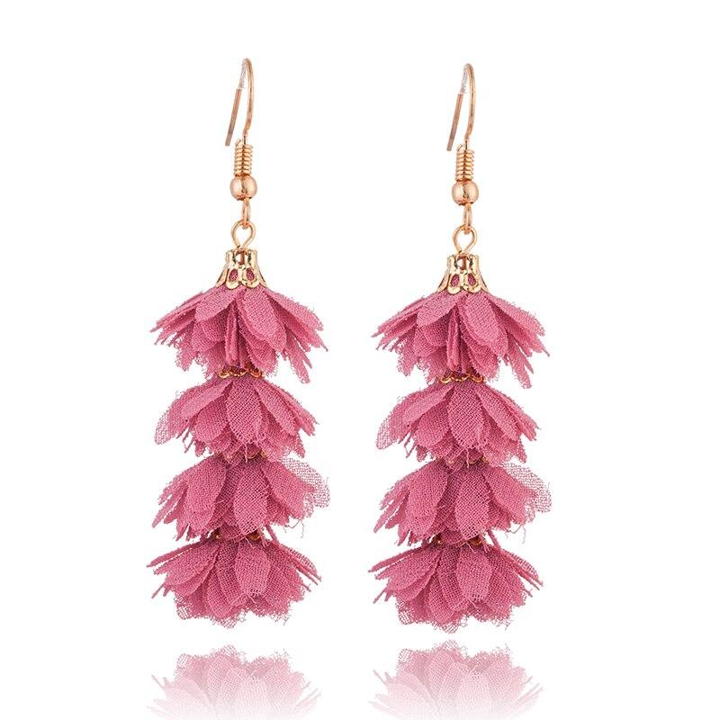 2019 Fashion cloth flower long fringe earring Boho Handmade tassel dangle drop earrings Women Charm party wedding jewelry gift